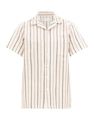 Onia Vacation Camp Collar Striped Linen Shirt Multi