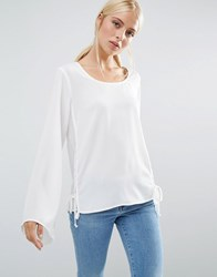 Brave Soul Flute Sleeve Top With Lace Tie Side Cream