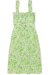 Faithfull The Brand Mae Belted Ruffled Floral Print Crepe Dress Mint