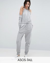 Asos Tall Cold Shoulder Sweat Jumpsuit Grey Marl