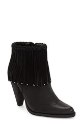 Women's Very Volatile 'Shakee' Fringe Bootie Black Faux Leather