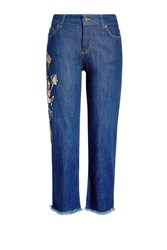 Zadig And Voltaire Cropped Embroidered Jeans With Frayed Hem