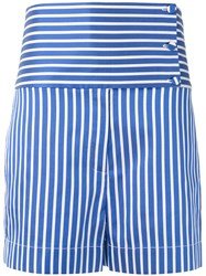 Ports 1961 Striped High Waisted Shorts Women Silk Cotton Polyester 40 Blue