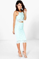 Boohoo Corded Lace Crop And Midi Skirt Co Ord Set Mint