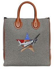 Bertoni 1949 Cotton Blend And Leather Tote Bag