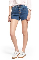 Treasure And Bond High Waist Cutoff Denim Shorts Gravel Medium Clean