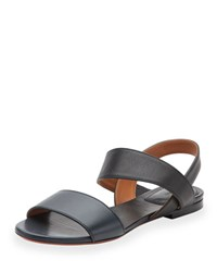 Chloe Leather Double Band Flat Sandal Abyss Blue Navy
