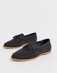 Office Lewisham Woven Tassel Loafers In Black Leather