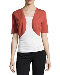 Lafayette 148 New York Stretch Knit Half Sleeve Shrug Chili Red