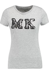 Michael Michael Kors Sequin Embellished Cotton Jersey T Shirt Gray