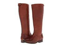 Frye Melissa Button Back Zip Extended Cognac Extended Soft Vintage Leather Cowboy Boots Brown