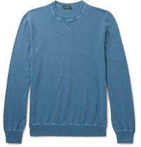 Incotex Knitted Cotton Sweater Blue