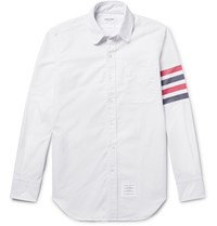 Thom Browne Slim Fit Penny Collar Striped Cotton Oxford Shirt White