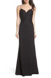 Hayley Paige Occasions 'S Lace And Crepe Trumpet Gown Black