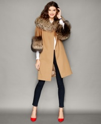 The Fur Vault Fox Fur Trim Wool Walker Coat Vicuna