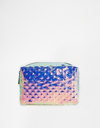 Asos Textured Hologram Make Up Bag Silver