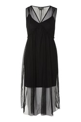 Topshop Petite Tulle Midi Dress Black