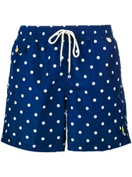 Polo Ralph Lauren Polka Dot Swim Shorts Men Polyester M Blue