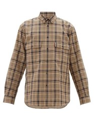 Raey Chest Pocket Checked Cotton Blend Shirt Brown Multi