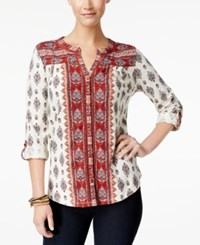 Style And Co Printed Roll Tab Blouse Only At Macy's Pioneer Cabin Red