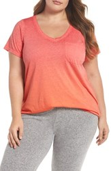 Make Model Plus Size 'Gotta Have It' V Neck Tee Coral Sugar Orange Par Ombre
