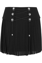 Versus Crepe Paneled Pleated Jersey Mini Skirt