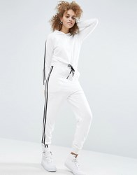 Asos Sweat Jersey Jumpsuit With Hood And Tipping Ecru White