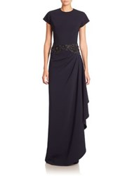 Rickie Freeman For Teri Jon Embellished Draped Gown Navy