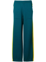 Barrie Side Stripe Knitted Joggers Blue