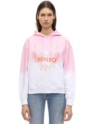 Kenzo Tiger Embroidered Gradient Cotton Hoodie Pink