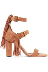 Chloe Fringe Trimmed Suede Sandals Tan