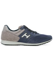 Hogan Logo Patch Sneakers Men Leather Suede Polyester Rubber 7 Blue