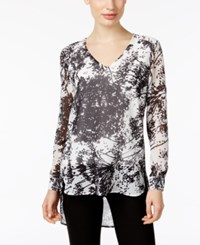 Joan Vass Abstract Print High Low Blouse White Black