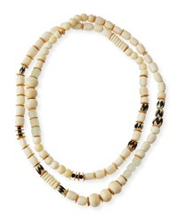 Akola Long Bone And Sea Glass Beaded Necklace White