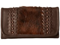 American West Cow Town Trifold Wallet Chocolate Brindle Hair Wallet Handbags Brown