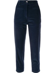 Tela Velvet Cropped Trousers Blue