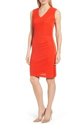 Boss Erela Ruched Sheath Dress Sunset Orange