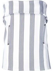 Shades Of Grey By Micah Cohen Striped Strapless Top White