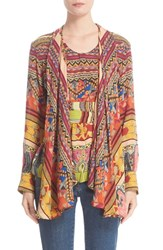 Etro Women's Ribbon Print Silk Faux Shawl Top