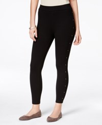 Styleandco. Style And Co. Petite Stud Trim Leggings Only At Macy's Deep Black
