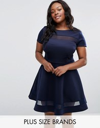 Club L Plus Office Skater Dress With Mesh Insert Navy