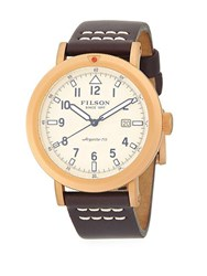 Filson Scout Stainless Steel And Leather Strap Watch Brown