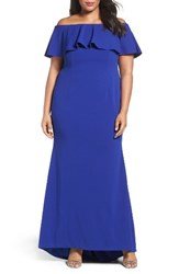 Adrianna Papell Plus Size Women's Off The Shoulder Crepe Knit Mermaid Gown