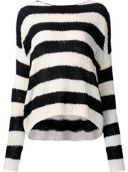Atm Anthony Thomas Melillo Striped Boat Neck Jumper Black