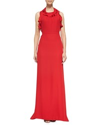 Milly Chelsea Ruffled Silk Halter Gown Red