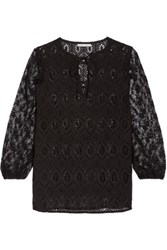 Alice Olivia Carroll Lace And Broderie Anglaise Cotton Blouse Black