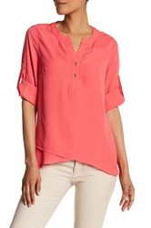 Catherine Malandrino 3 4 Length Sleeve Roll Up Blouse Pink
