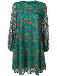 Giamba Floral Embroidered Shift Dress Green