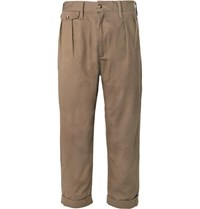 The Workers Club Tapered Pleated Cotton Twill Chinos Taupe