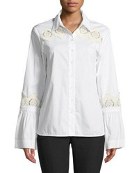 Laundry By Shelli Segal Lace Trim Flare Sleeve Button Front Blouse White